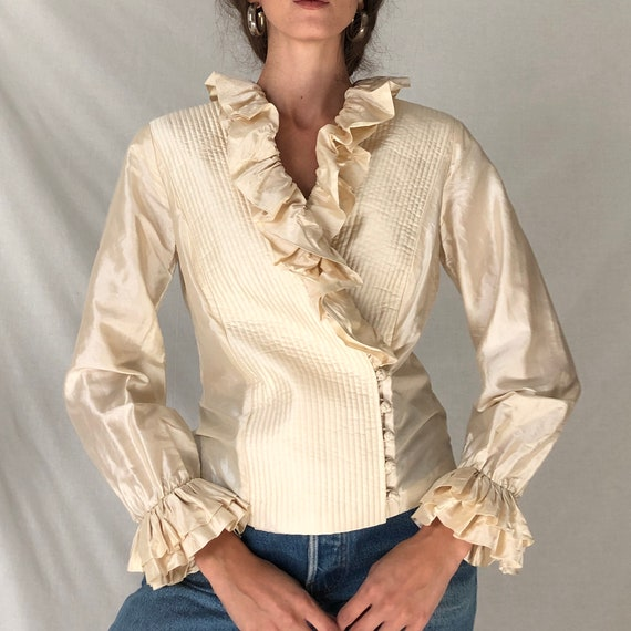 80s cream silk avant garde ruffle blouse / white … - image 5