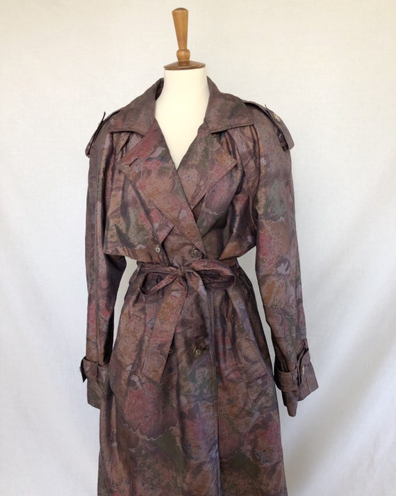 80s floral trench coat / burgundy florals / brown