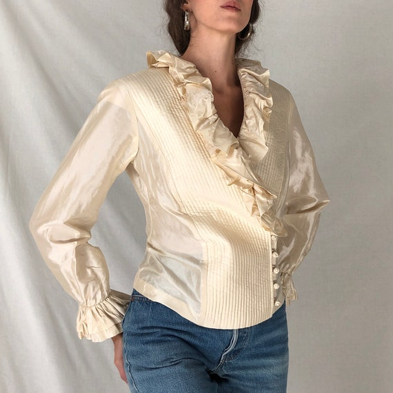80s cream silk avant garde ruffle blouse / white … - image 3