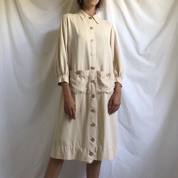 Edwardian raw silk pale yellow driving coat / anti