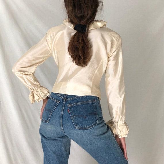 80s cream silk avant garde ruffle blouse / white … - image 4