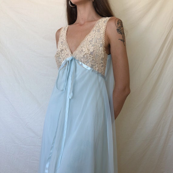 1960s baby blue chiffon nightgown / lace nightgown