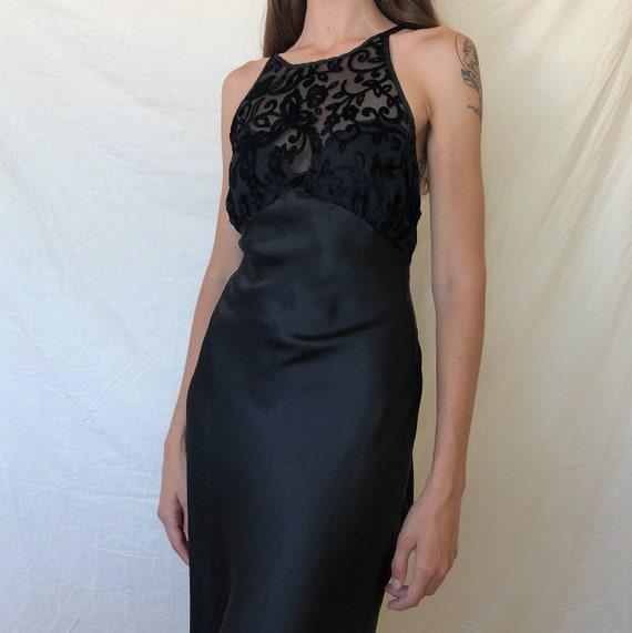 90s black backless halter top nightgown / 90s slip