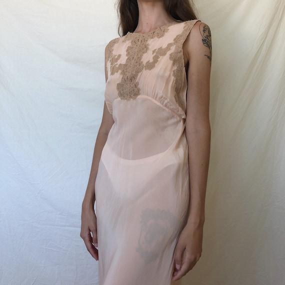 1920s - 1930s pink silk nightgown / silk slip dres