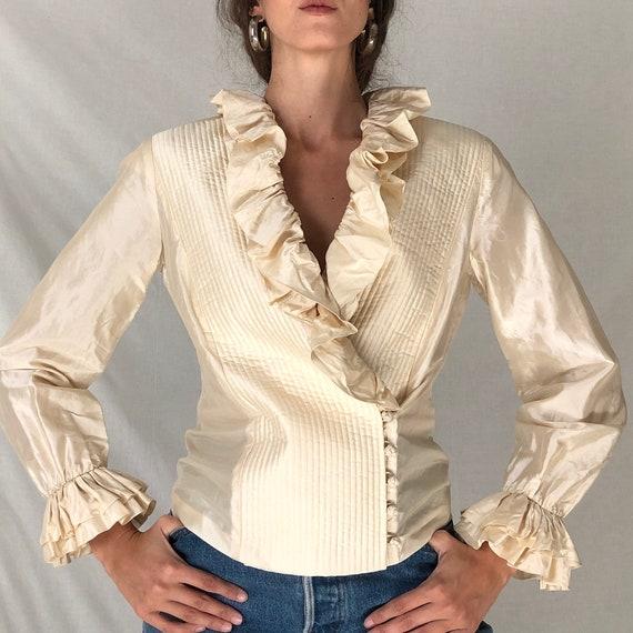 80s cream silk avant garde ruffle blouse / white … - image 2