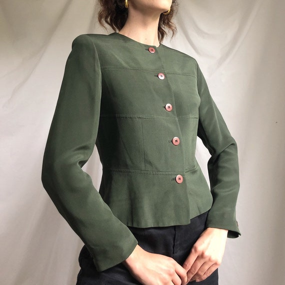 80s forest green silk peplum jacket / 80s silk blo