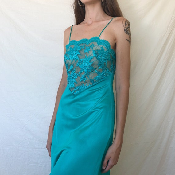 80s - 90s turquoise lace nightgown / nightgown / 9