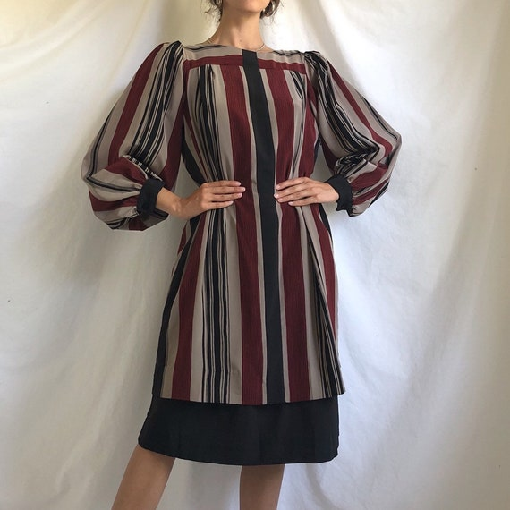 80s red beige black striped puff sleeve shift dres