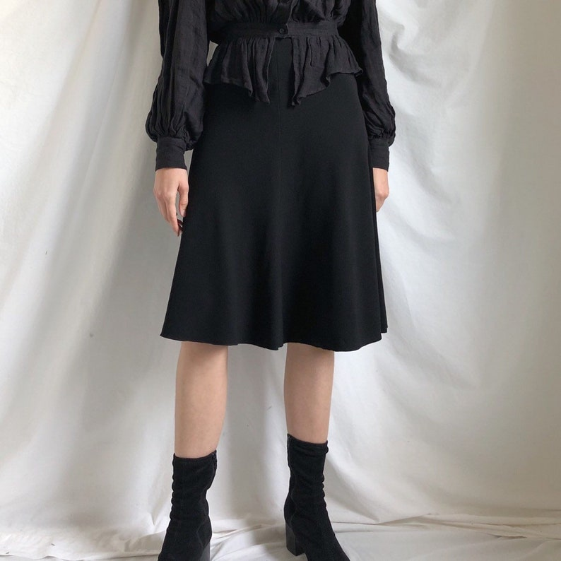 89da042c001ec Vintage Prada minimal black skirt / Prada / black skirt / full skirt /  medium 28