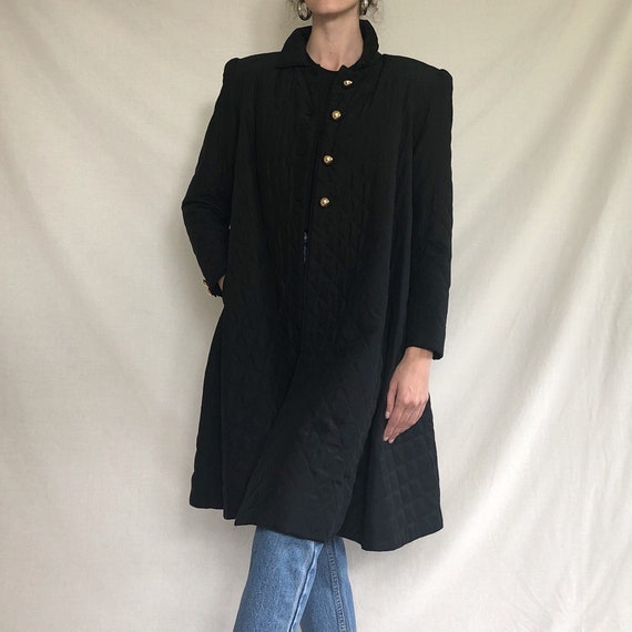 80s black silk quilted swing coat / quilted jacket