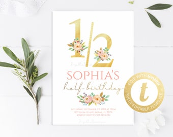 Floral Half Birthday Invitation Pink Gold Whimsical 1 2 Printable Instant Download Editable Templett