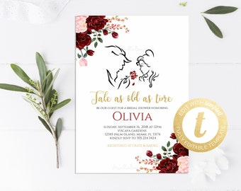40d292261b7 Beauty and the Beast Bridal Shower Invitation Printable