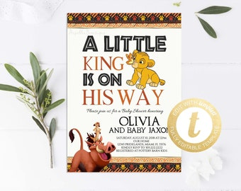 Lion king baby shower etsy simba baby shower invitation lion king baby shower invitation printable rustic boy baby shower invite instant download editable templett filmwisefo