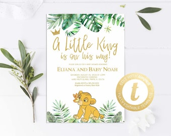 Lion king baby shower etsy simba baby shower invitation lion king baby shower invitation printable lion baby shower instant download editable templett 122 filmwisefo
