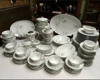 Noritake China Japan Bambina 5791 Coupe Cereal Bowls White Green Gray Bamboo Platinum Rim Vintage NORITAKE BAMBINA Soup Bowls Set of 6