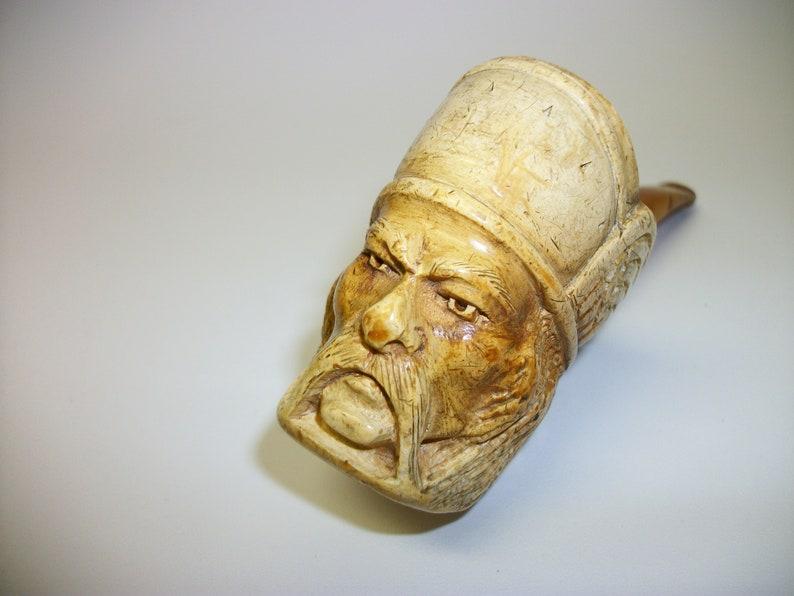 Vintage Meerschaum Viking Man Carved Pipe