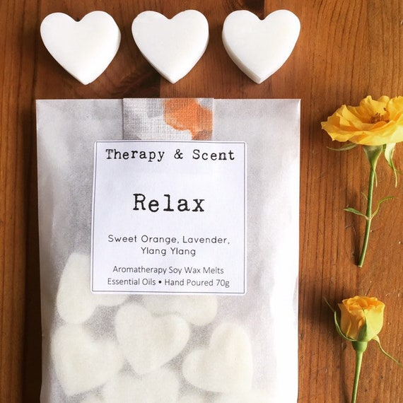 Relax soy wax melts, made with therapeutic grade essential oils, vegan friendly, eco friendly, gifts for her, birthday, house warming