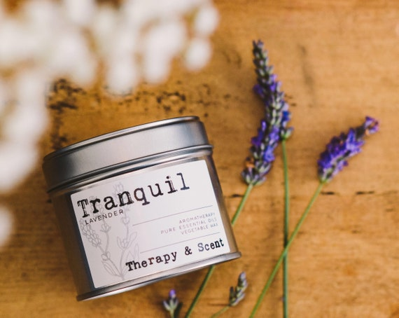 Tranquil soy wax candle, made with therapeutic grade essential oils, vegan friendly, eco friendly, gifts for her, birthday, house warming