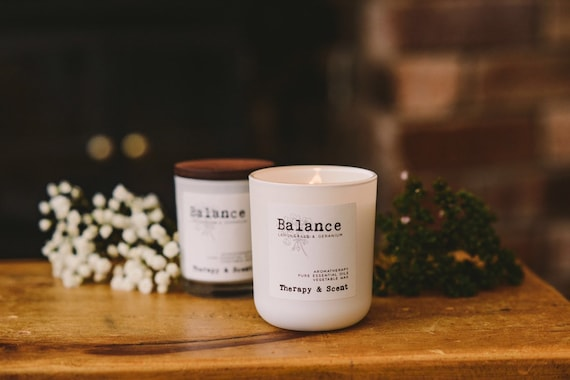 Balance Aromatherapy soy wax candle made with pure therapeutic grade essential oils, eco friendly, vegan, natural, hygge, wellbeing