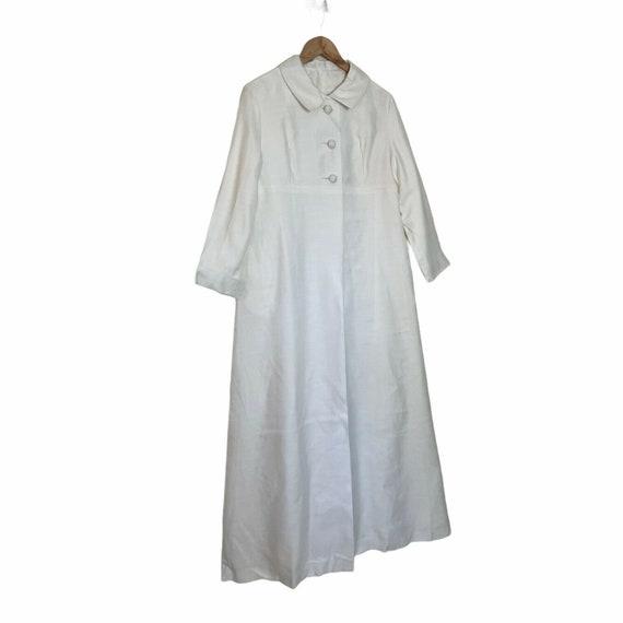 Vintage 60s White Long Maxi Wedding Coat M - image 2