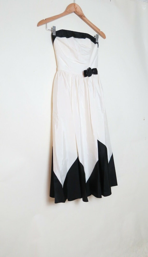 Vintage 70s 80s Candi Jones Black White Dress 5