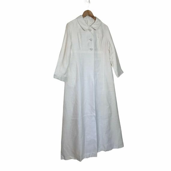 Vintage 60s White Long Maxi Wedding Coat M - image 3
