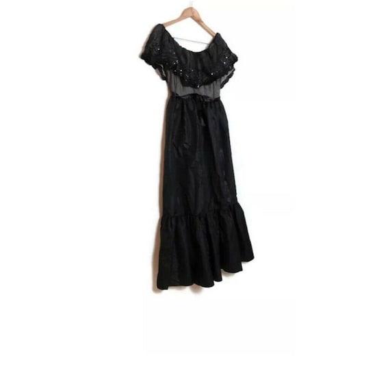 Vintage 70s Black Prairie Victorian Maxi Dress