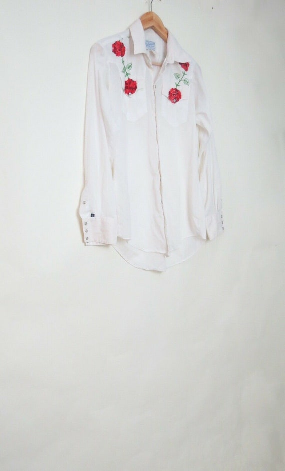 Vintage Rockmount Ranch Wear Pearl Snap Floral Emb