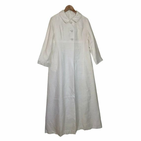 Vintage 60s White Long Maxi Wedding Coat M - image 4