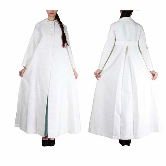 Vintage 60s White Long Maxi Wedding Coat M - image 1