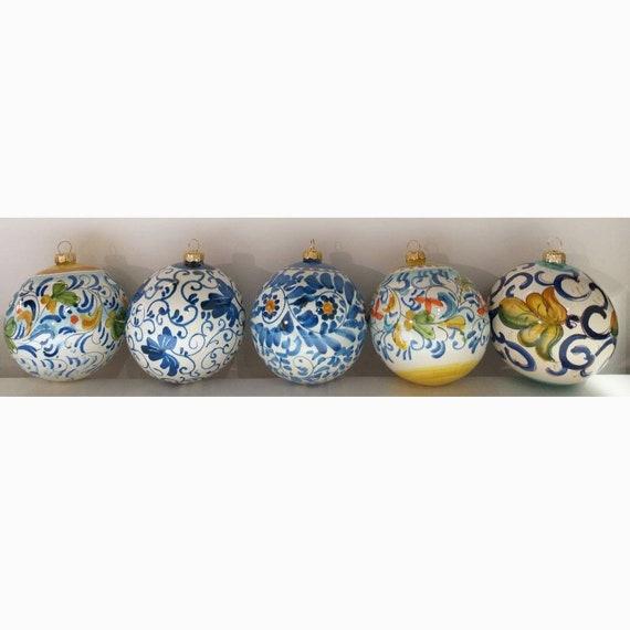 Christmas ornament - set of 5 handmade pottery Christmas' tree balls from Amalfi Coast - blue and white - diameter each ball 10 cm