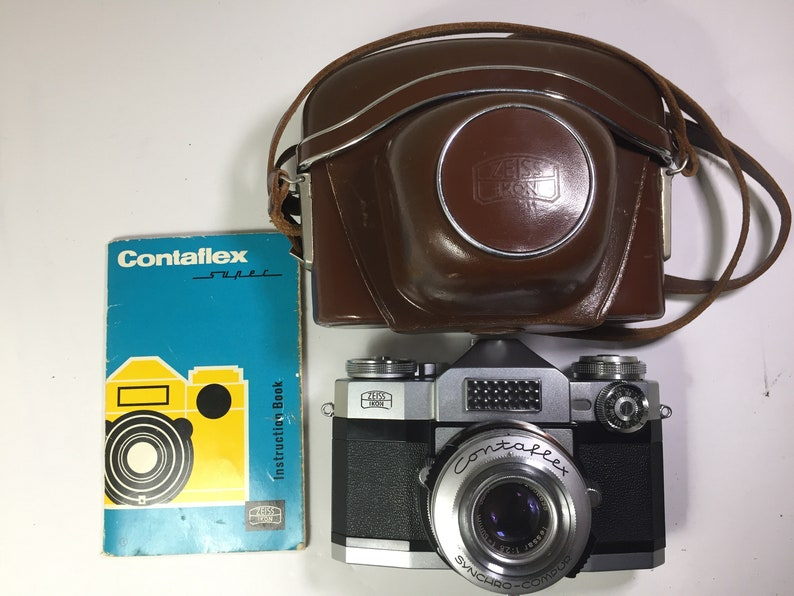 Vintage ZEISS Ikon Contaflex SLR 35mm Camera Kit with Carl ZeissTESSAR 50mm  f/2 8 Lens (Collector Set)