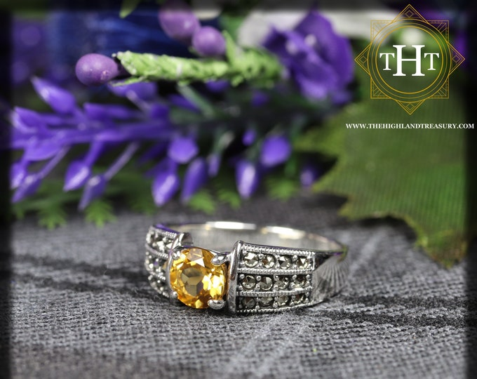 Vintage Sterling Silver 925 Art Deco Style Round Cut Vivid Yellow Citrine With Marcasite Gemstone Band Design Ring Size O - 7