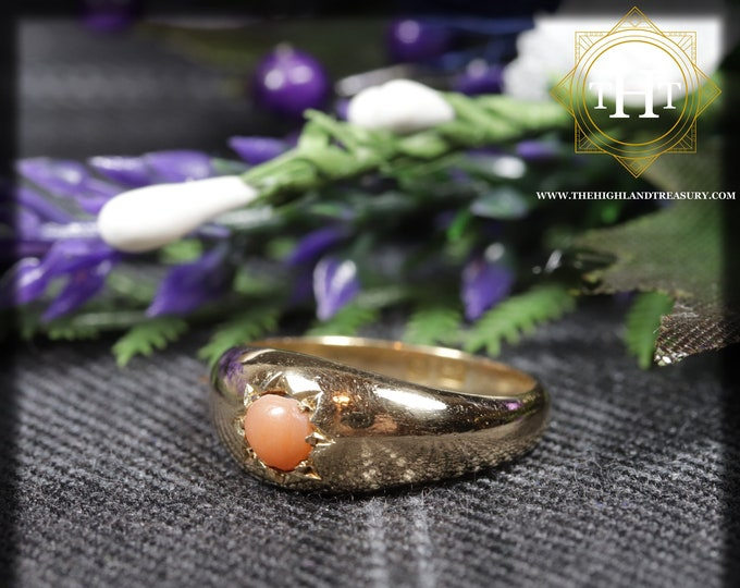 Vintage 9K 9Ct 375 Solid Yellow Gold Round Cabochon Orange Cut Mormo Natural Coral Gemstone Ring Size K - 5 1/8