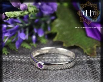 Sterling Silver 925 Minimalist Design Style Small Round Cut Purple Amethyst Birthstone Gemstone Band Ring Size O - 7