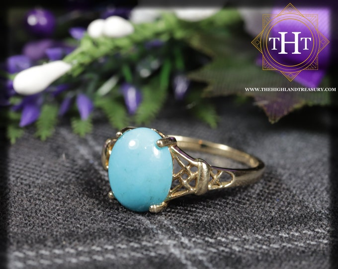 Vintage 9K 9Ct 375 Solid Yellow Gold Oval Cut Cabachon Blue Sleeping Beauty Turquoise Natural Gemstone Ring Size S 1/2 - 9 3/8