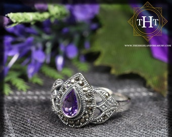 Vintage Sterling Silver 925 Art Deco Style Pear Cut Purple Amethyst With Marcasite Gemstone Design Ring Size N - 6 1/2