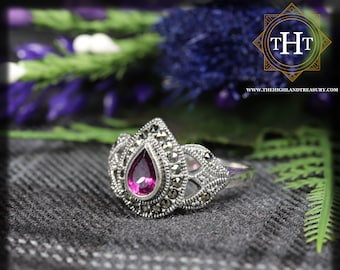 Vintage Sterling Silver 925 Art Deco Style Pear Cut Pink Rhodolite Garnet With Marcasite Gemstone Design Ring Size N - 6 1/2