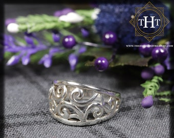 Vintage Sterling Silver 925 Modernest Carved Swirl Vine Floral Design Ring Size N - 6 1/2