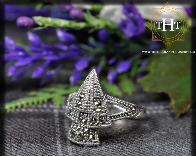 Vintage Sterling Silver 925 Art Deco Style Marcasite Gemstone Triangular Arrowhead Fan Geometric Design Ring Size O - 7