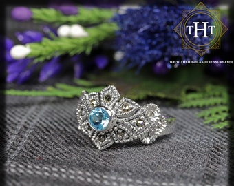 Vintage Sterling Silver 925 Art Deco Style Round Cut Vivid Blue Topaz With Marcasite Gemstone Shield Design Ring Size O - 7