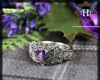 Vintage Sterling Silver 925 Art Deco Style Heart Cut Purple Amethyst With Marcasite Gemstone Love Heart Design Ring Size O - 7