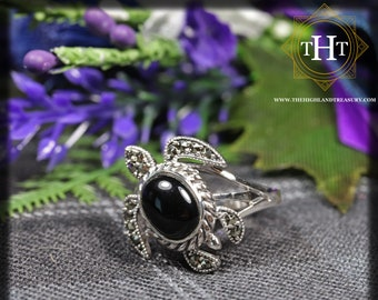 Vintage Sterling Silver 925 Art Deco Style Black Onyx Cabochon Cut Turtle With Marcasite Gemstone Ring Size N - 6 1/2