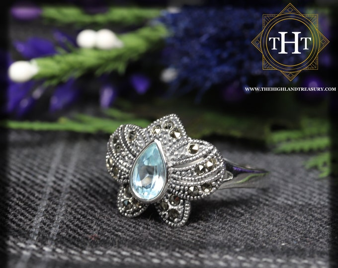Vintage Sterling Silver 925 Art Deco Style Pear Cut Blue Topaz With Marcasite Gemstone Flower Design Ring Size O - 7