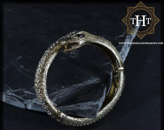 Vintage Gold Brass Snake Serpent White Rhinestone Design With Spring Cuff Bangle Bracelet