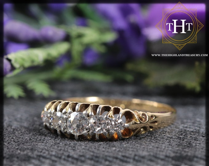 Victorian 18K 18Ct 750 Solid Yellow Gold With Five Graduated White Old Cut Natural Diamond Wedding Engagement Ring Size P - 7 1/2