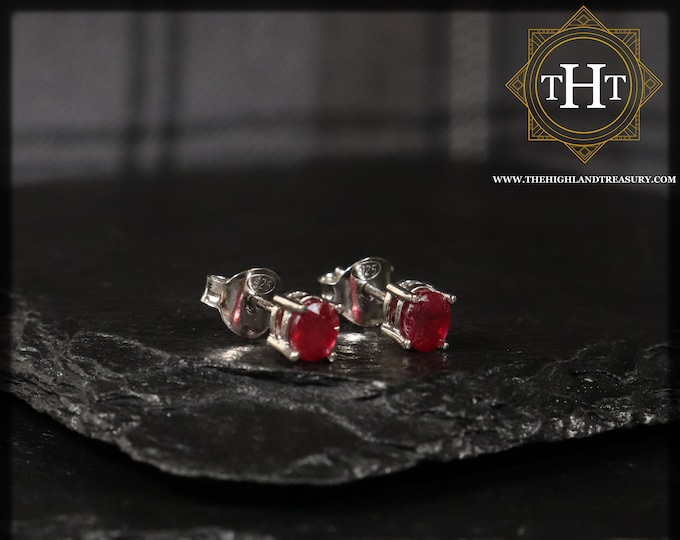 A Pair of Vintage Sterling Silver 925 Small Dainty Delicate 5x4mm Oval Cut Red Ruby Gemstone July Birthstone Stud Earrings