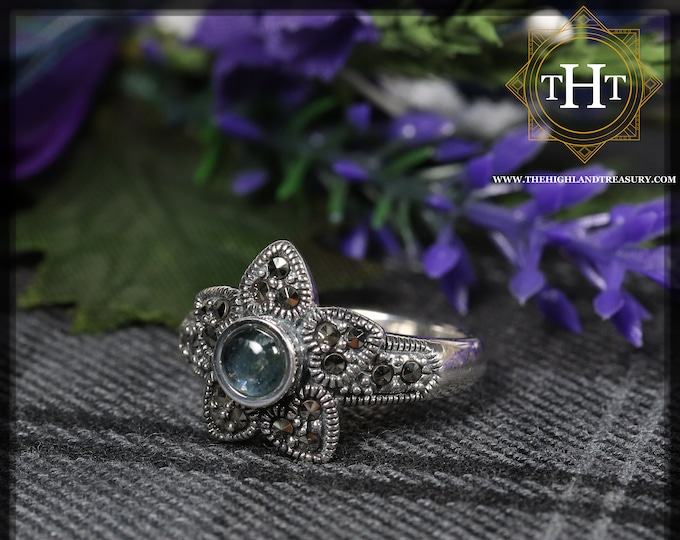 Vintage Sterling Silver 925 Art Deco Style White Round Cabachon Cut Blue Tourmaline With Marcasite Gemstone Star Design Ring Size O - 7