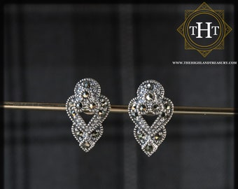 Vintage Sterling Silver 925 Art Deco Style Elegant Small Arrow Marcasite Gemstone Heart Design Stud Earrings
