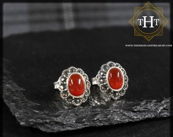 Vintage Sterling Silver 925 Art Deco Style Small Oval Cut Orange Carnelian Marcasite Gemstone August Birthstone Cluster Design Stud Earrings